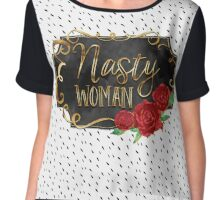 Nasty Woman - Gold - Watercolor - Roses Chiffon Top
