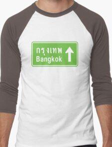 Bangkok, Thailand Ahead ⚠ Thai Road Sign ⚠ Men's Baseball ¾ T-Shirt