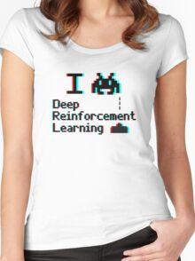 I heart deep reinforcement learning (8-bit 3D) Women's Fitted Scoop T-Shirt