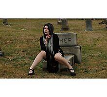 Gothic Graveyard Girl Photographic Print
