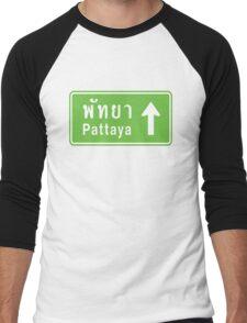 Pattaya, Thailand Ahead ⚠ Thai Road Sign ⚠ Men's Baseball ¾ T-Shirt