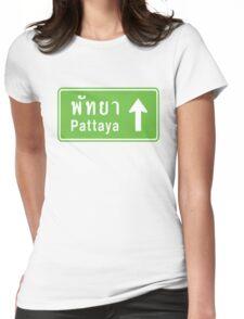 Pattaya, Thailand Ahead ⚠ Thai Road Sign ⚠ Womens Fitted T-Shirt