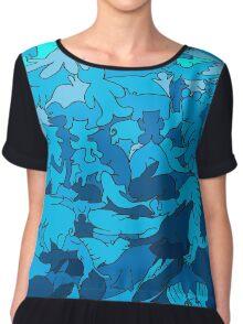 Cookie cutter animals - blue Women's Chiffon Top