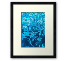 Cookie cutter animals - blue Framed Print