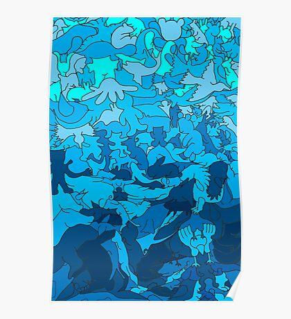 Cookie cutter animals - blue Poster