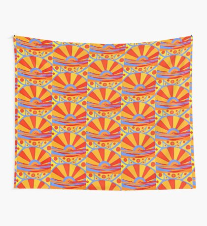The Sun - folk art landscape prints and patterns Wall Tapestry