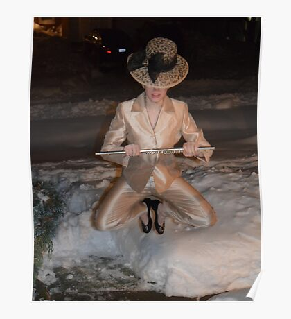 Me Holding a Flute and Wearing a Gold Pantsuit Jumping in the Snow Poster