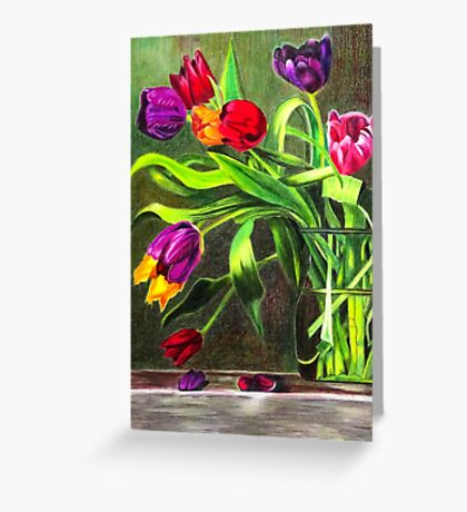 Cascading Tulips Greeting Card