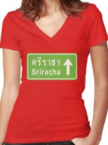 Sriracha, Thailand Ahead ⚠ Thai Traffic Sign ⚠ Women's Fitted V-Neck T-Shirt