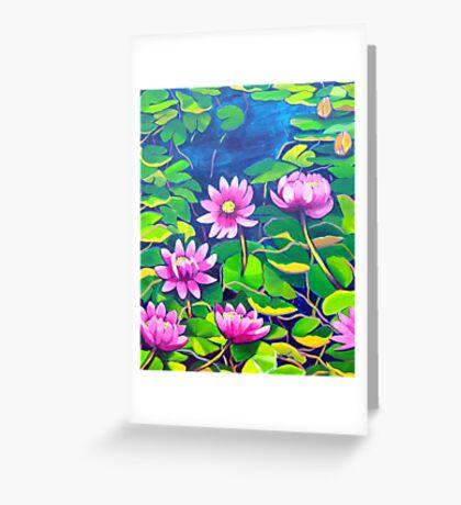 Waterlillies in Japanese Gardens Greeting Card