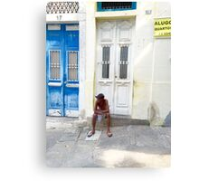 Sitting on Door Step Canvas Print