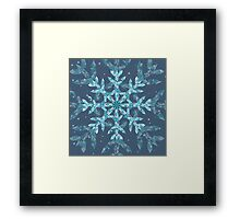 Polygonal Snowflake With blue Background Framed Print