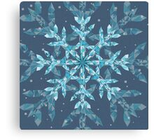 Polygonal Snowflake With blue Background Canvas Print