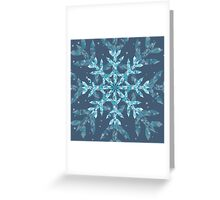Polygonal Snowflake With blue Background Greeting Card