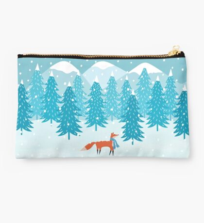 Fox - Winter - Pine Trees Studio Pouch