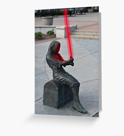 Girl Statue with Lightsaber Greeting Card