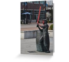 Boy Statue with Lightsaber Greeting Card