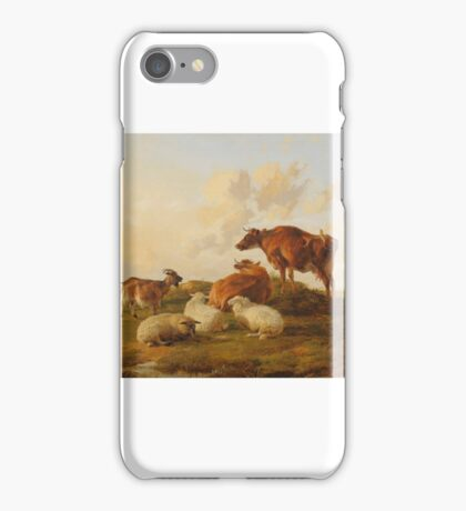 Thomas Sidney Cooper RA () Study of cows, sheep and a goat on a sandy knoll iPhone Case/Skin