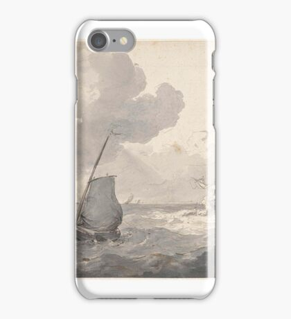 Two masts and fishing boat off the coast, Petrus Johannes Schotel, iPhone Case/Skin