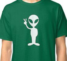 White Alien Emoji Face T-shirt Emoticon Martian UFO Tshirt Classic T-Shirt