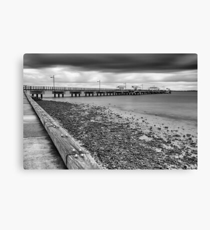 Woody Point Jetty. Black and White. Canvas Print