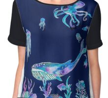 Whale of a time. Water colour Paper Cut Chiffon Top