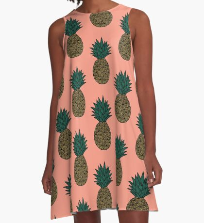 Peach Pink - Pineapple A-Line Dress