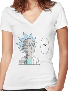One Punch Rick Women's Fitted V-Neck T-Shirt