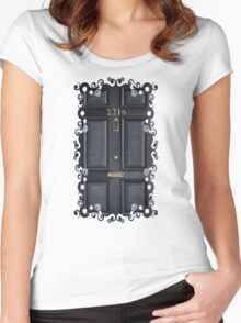 Black Door with 221b number Women's Fitted Scoop T-Shirt