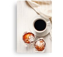 Sweet Fresh Baked Homemade Muffins with Cup of Black Coffee Canvas Print