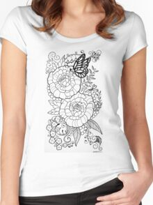 Peony Tattoo Design Women's Fitted Scoop T-Shirt