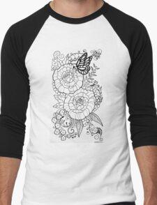 Peony Tattoo Design Men's Baseball ¾ T-Shirt