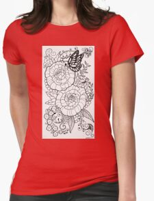 Peony Tattoo Design Womens Fitted T-Shirt