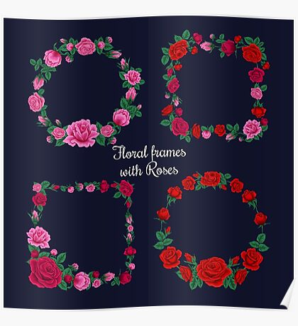 Frames and Tags with Roses Poster