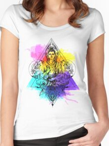 Buddha illustration Women's Fitted Scoop T-Shirt