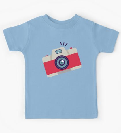 Red Instant Camera Illustration #stickers Kids Tee