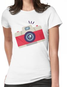 Red Instant Camera Illustration #stickers Womens Fitted T-Shirt
