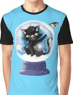 Black winter kitty in a snow globe and butterfly Graphic T-Shirt