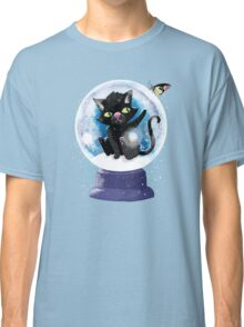 Black winter kitty in a snow globe and butterfly Classic T-Shirt