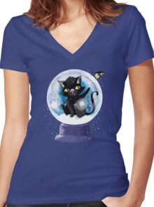 Black winter kitty in a snow globe and butterfly Women's Fitted V-Neck T-Shirt