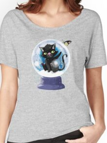 Black winter kitty in a snow globe and butterfly Women's Relaxed Fit T-Shirt