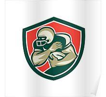 American Football Running Back Fending Shield Poster