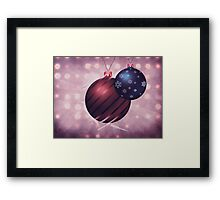 Two Christmas balls on grunge background Framed Print