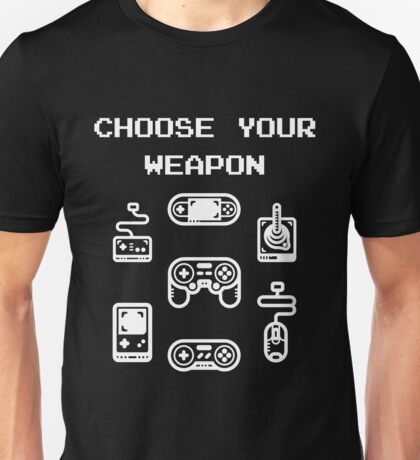 Retro Gaming T-shirt: Choose Your Weapon Classic Controllers Unisex T-Shirt