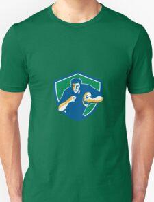 Rugby Player Running Fending Shield Retro Unisex T-Shirt