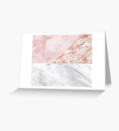 Mixed pinks rose gold marble Greeting Card
