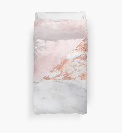 Mixed pinks rose gold marble Duvet Cover