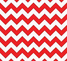 Red & White Chevron Pattern by happycheek
