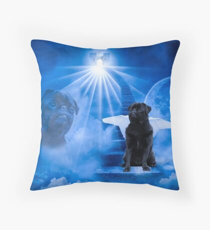 Pug in Heaven as Angel Throw Pillow