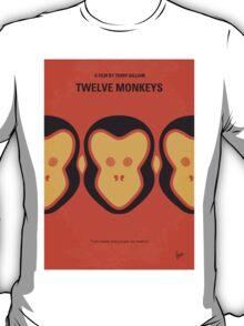 No355 My 12 MONKEYS minimal movie poster T-Shirt